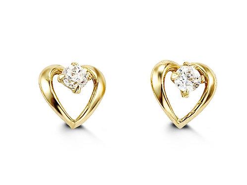 14kt Gold Baby Bella Heart CZ Studs