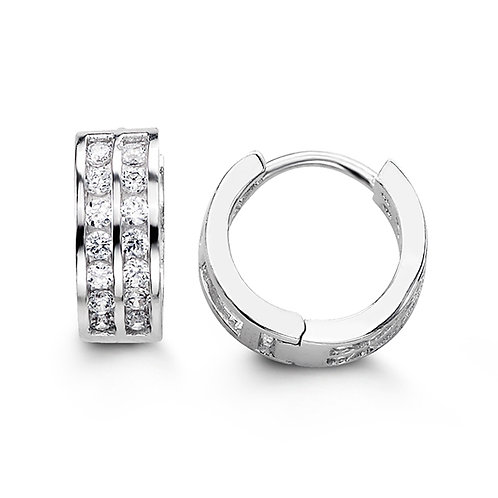 Sterling Silver CZ Huggies, Two Row Channel