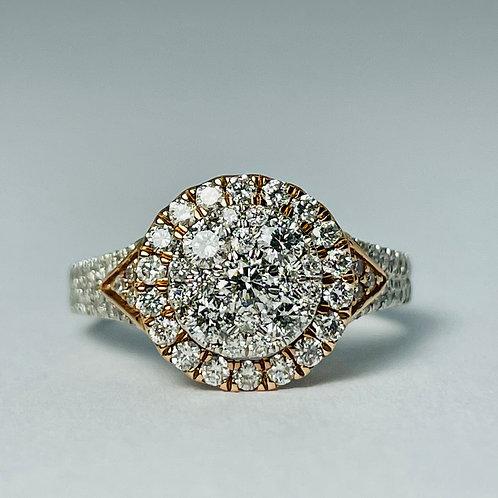 10kt White & Rose Gold 1.00ctw Diamond Engagement Ring
