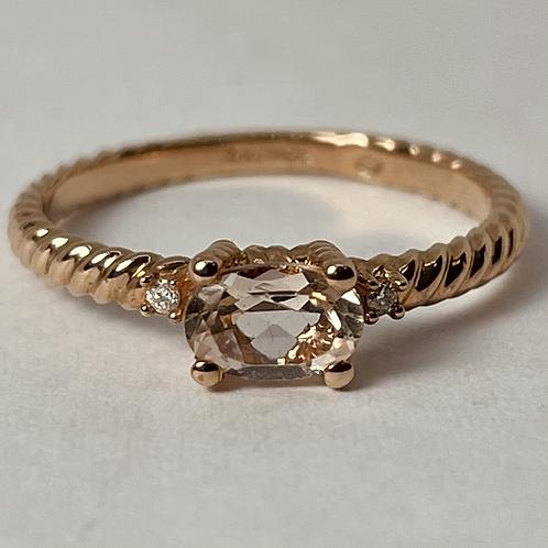 10kt Rose Gold Morganite & Diamond Ring
