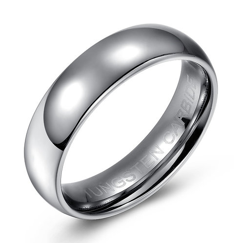6.5mm Tungsten band dome top and high polish