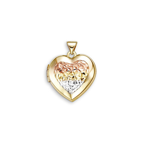 10kt Gold Sentiments Locket Heart Shaped Tri-Colour