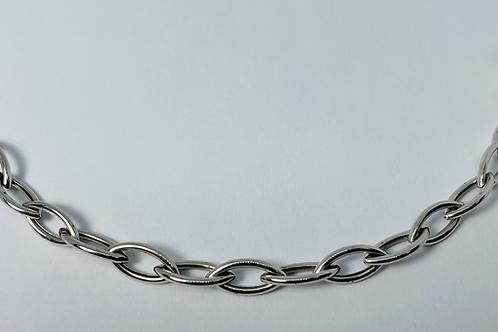 10kt White Gold Fancy Link Charm Bracelet