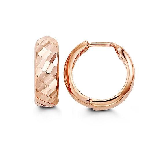 10kt Rose Gold Multi-faceted Huggies Hoop Earrings