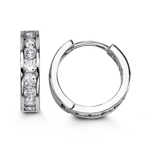 Sterling Silver CZ Huggies (Large)