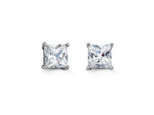 Sterling Silver Square CZ Studs 6mm