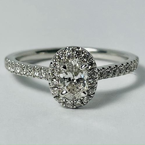 14kt White Gold Diamond Oval Engagement Ring