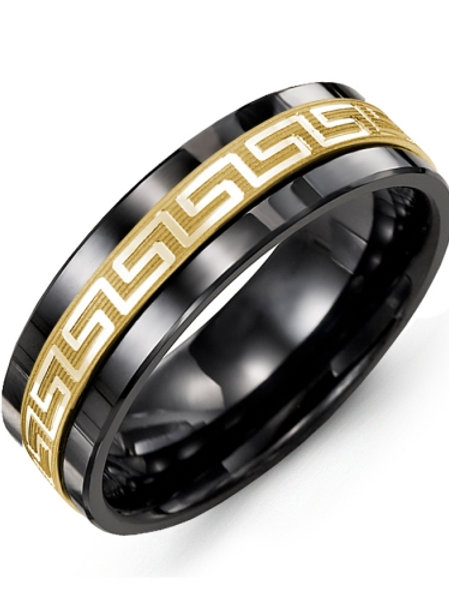 Men's Ancient Greek Key Pattern Wedding Band