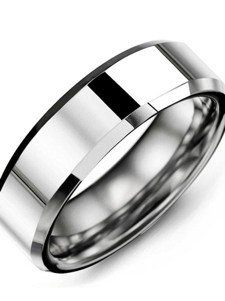 Men's Polished & Beveled Tungsten Wedding Ring