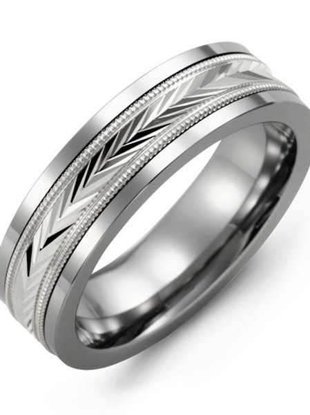 Men's Diamond-Cut V Wedding Ring