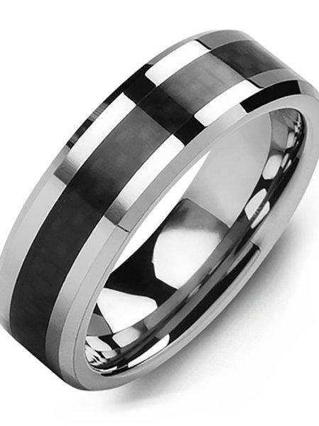 Men's Beveled Carbon Fiber Tungsten Wedding Band