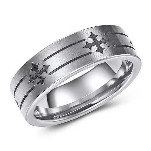 7mm wide tungsten band with cross pattern