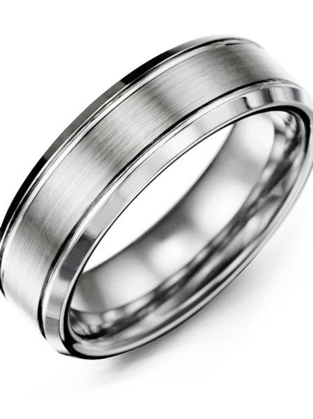Men's Beveled Edges Brush Center Tungsten Wedding Ring