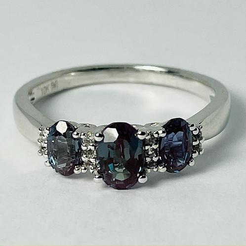 10kt White Gold Synthetic Alexandrite & Diamond Ring