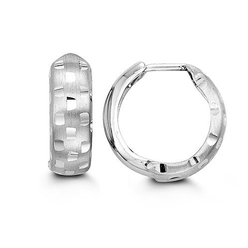 10kt White Gold Bella Huggies Hoop Earrings