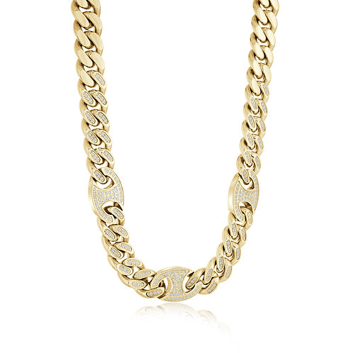 ITALGEM Stainless Steel Gold Plated Miami+Mariner Link Chain