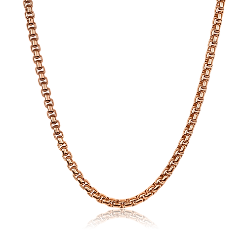 ITALGEM Rose-Gold Plated Stainless Steel 3.5mm Round Box Chain