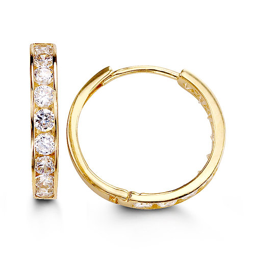 14kt Gold Bella CZ Huggies (Extra Large Size)