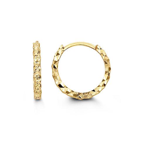 10kt Gold Bella Diamond Cut Huggies Hoops