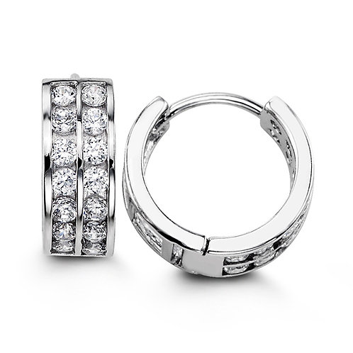 Sterling Silver Fancy Huggies with CZ, Two Row