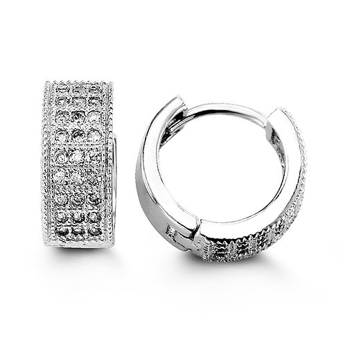Sterling Silver CZ Huggies, Pavee Design