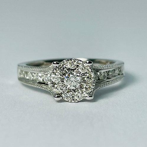 10kt White Gold 1.00ct Diamond Engagement Ring Set