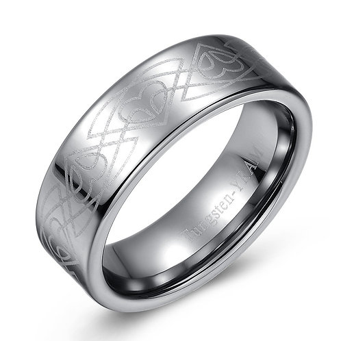 8mm Flat tungsten band with Celtic pattern