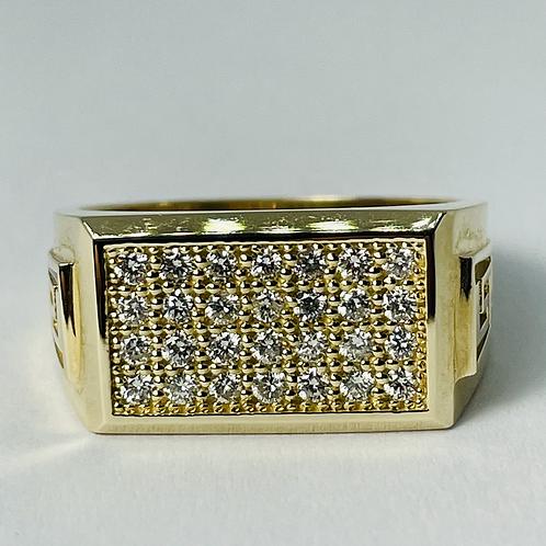 10kt Gold Diamond Ring, Greek Key