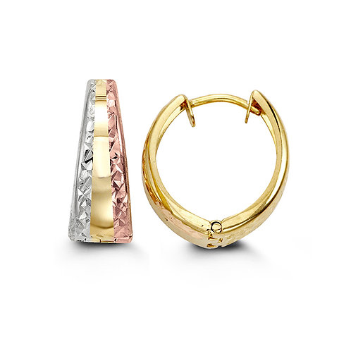 10kt Gold Tri-Colour Tapered Huggie Earrings