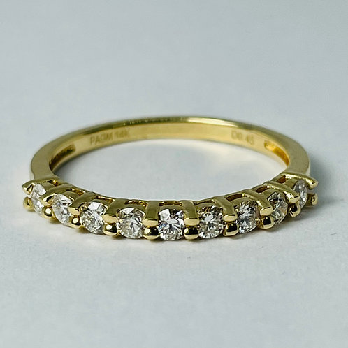 14kt Gold Diamond Band, Shared Claw, 0.45ctw
