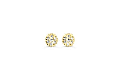 10K WG 0.08CT Diamond Cluster Stud Earrings