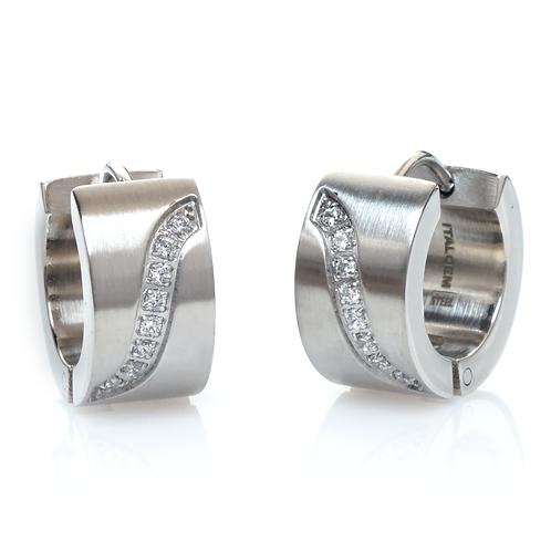 ITALGEM S Design CZ Earrings