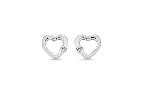 10K WG 0.04CT Diamond Open Heart Earring Posts