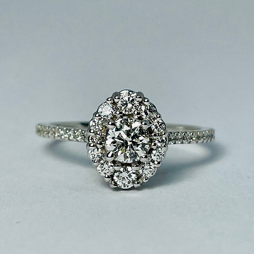 14kt White Gold Oval Halo Engagement Ring