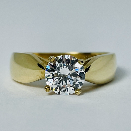 10kt Gold CZ Solitaire Ring