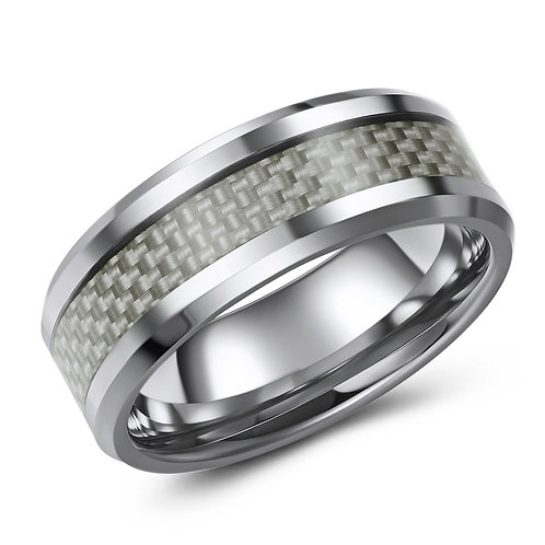 8mm wide tungsten band with grey carbon fibre inlay