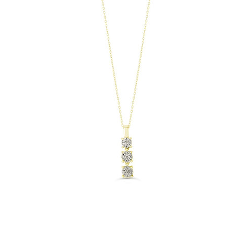 10K YG 0.13CT Diamond Past Present Future Illusion Pendant with Chain