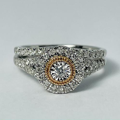 10kt Rose & White Gold Diamond Ring Set
