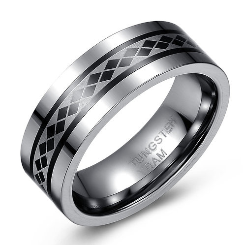 8mm Tungsten band with diamond shape spinning centre