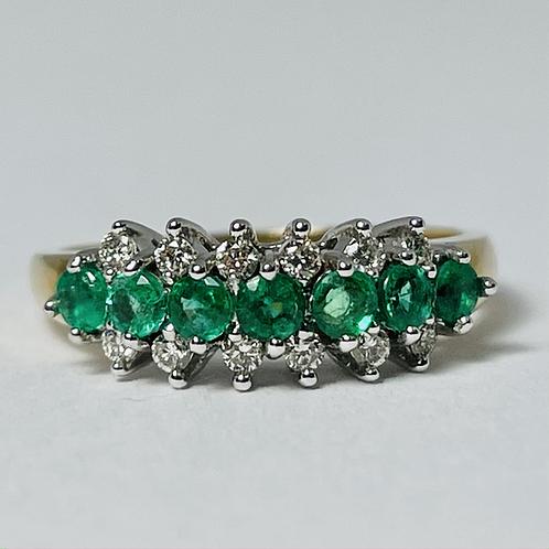 10kt Gold Emerald & Diamond Band