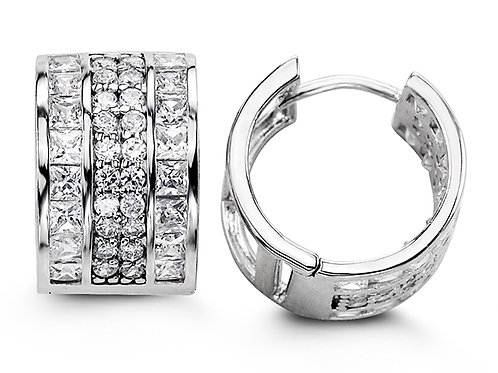 Sterling Silver Fancy Huggies with CZ, Four Row