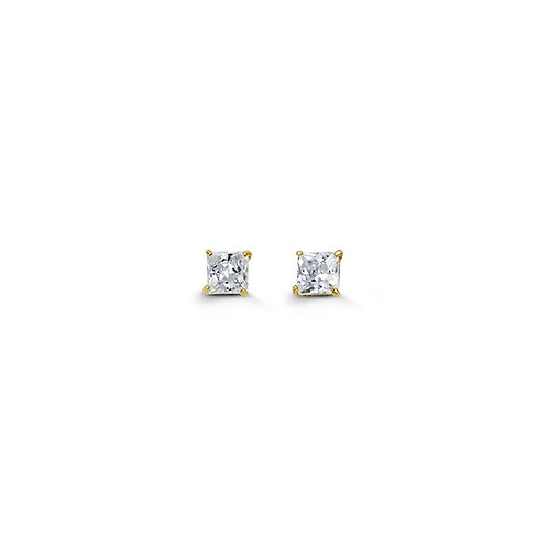 14kt Gold CZ Studs - 3mm Square (Princess)