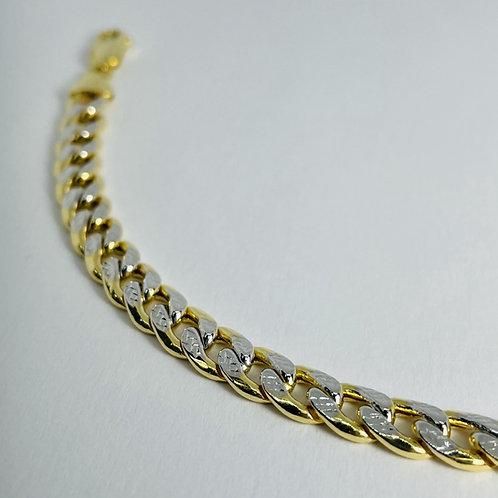 10kt Gold Two-Tone Curb Bracelet