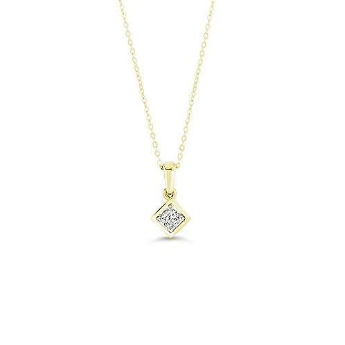 10K YG 0.09CT Diamond 4 Claw Square Pendant with Chain