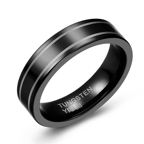 6mm black tungsten band with double line pattern
