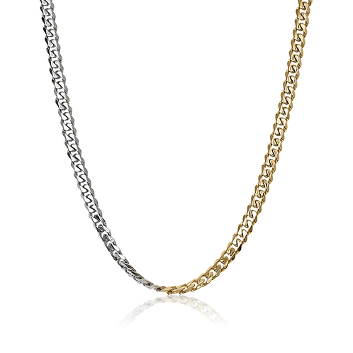 ITALGEM Gold Plated 2-Tone Stainless Steel 7.7mm Curb Chain