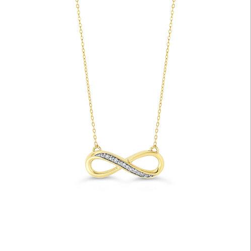10K WG 0.021CT Diamond Infinity Pendant with Chain