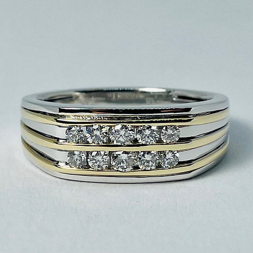 14kt Gold Two-Tone Diamond Band 0.50ctw