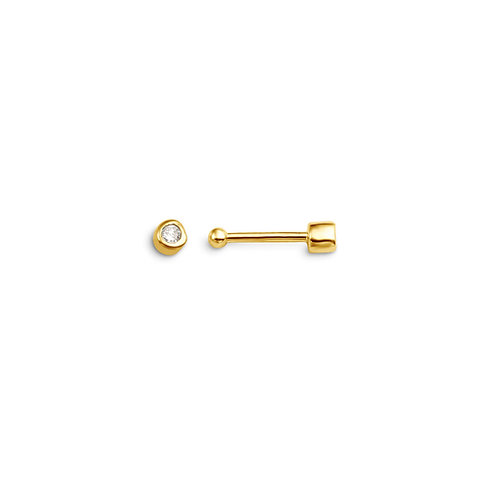 14kt Gold Diamond Nose Pin (0.005ctw) Bead End