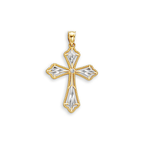 10kt Gold Bella Faith Diamond Cut Filigree Cross